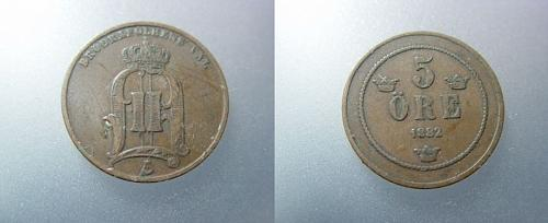 RARE 1882 FIVE ORE COIN FROM SWEDEN Sweden km736 5 Ore (1874-1889)