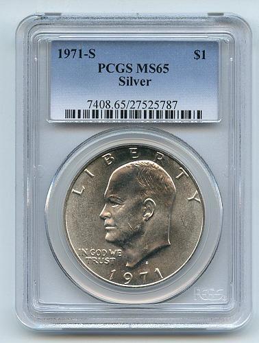 1971 S $1 Silver Ike Eisenhower Dollar PCGS MS65