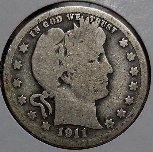 Barber Quarter 1911-P