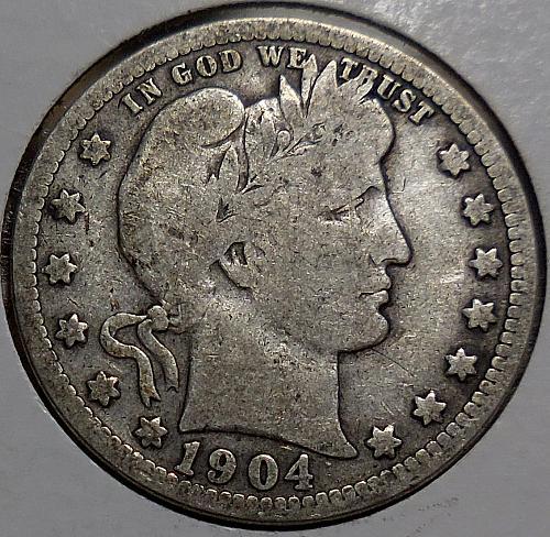 Barber Quarter 1904-P