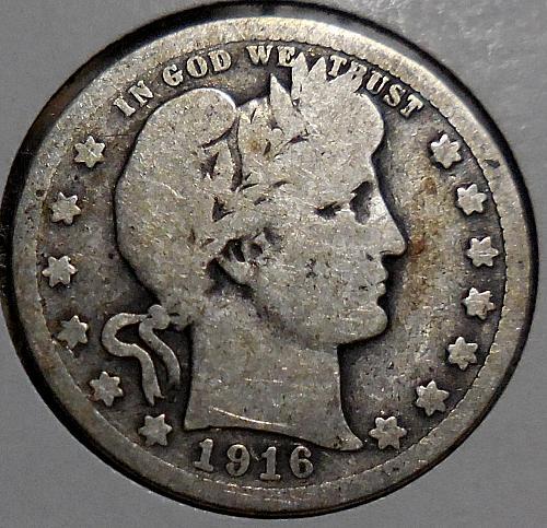 Barber Quarter 1916-P