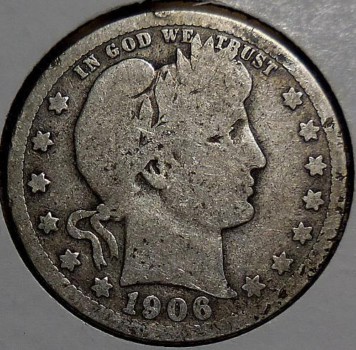 Barber Quarter 1906-P