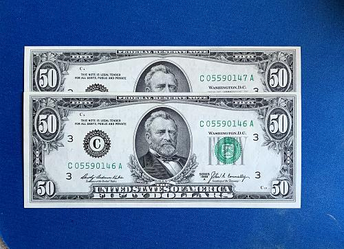 Two 1969 A  crisp $50. Bills with consecutive numbers