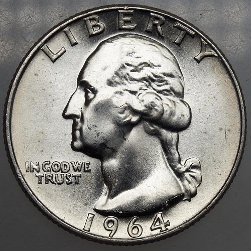 1964 D Washington Quarter#12 Reverse Die Crack