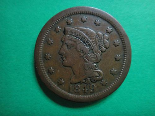 1849 Braided Hair Large Cent Very Fine-30 Nice Strike & Clean Fields!