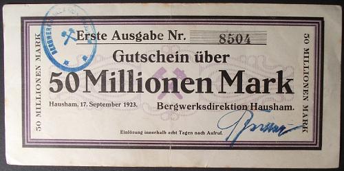 1923 Germany/Hausham 50 Million Mark VF