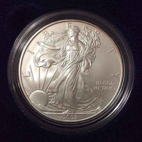 2008 W Burnished Silver American Eagle in us Mint box w/ Cert. of Authenticity