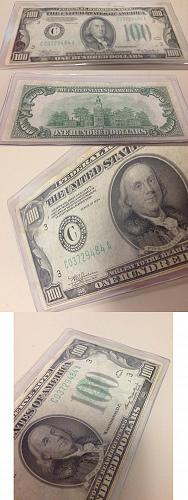 RARE - 1934 Series (Lime Green) Federal Reserve Note $100 Franklin Portrait - Am
