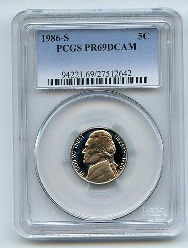 1986 S PCGS PR69DCAM Jefferson Nickel