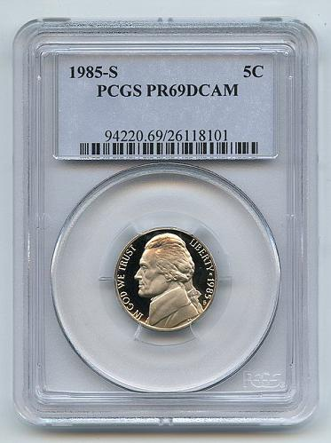 1985 PCGS PR69DCAM Jefferson Nickel