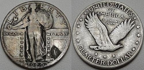 1929 25C Standing Liberty Quarter, Toned, 90% Silver