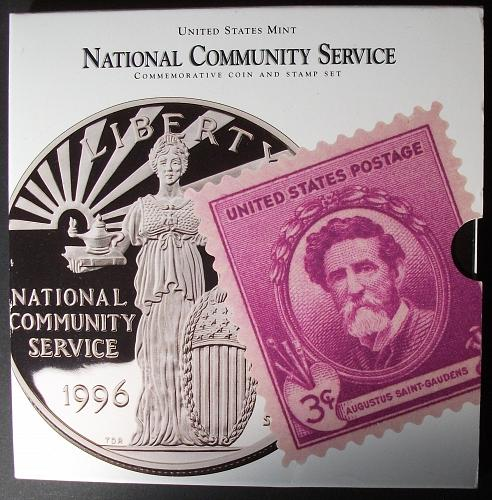 1996 National Community Service Coin and Stamp Set w/Proof Silver Dollar