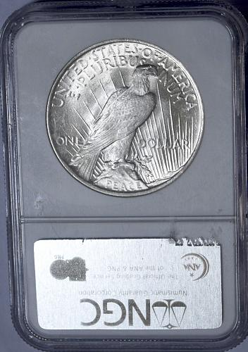 1923 PEACE NGC MS63 90% SILVER DOLLAR