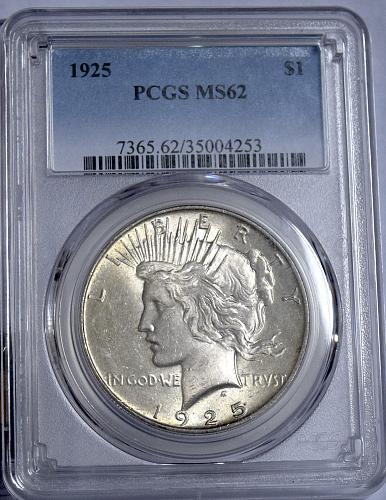 1925 P PEACE PCGS MS 62 90% SILVER DOLLAR