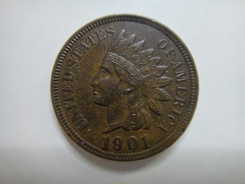1901 Indian Cent Almost Uncirculated-55 with 3.5 Diamonds Nice!
