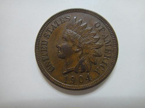 1904 Indian Cent Extra Fine-45 with FOUR DIAMONDS Nice Milk Chocolate Brown!