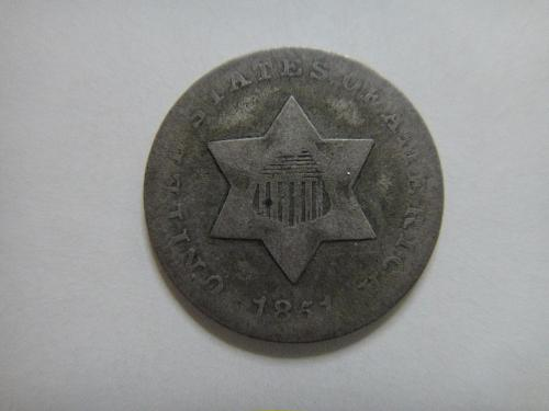 1851 Three Cent Silver About Good-3 Nice Pearl Grey Silver!