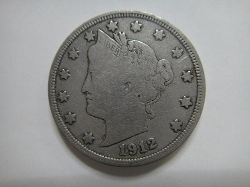 """1912-D Liberty """"V"""" Nickel Fine-12 Only Denver Mint Issue of Series!"""