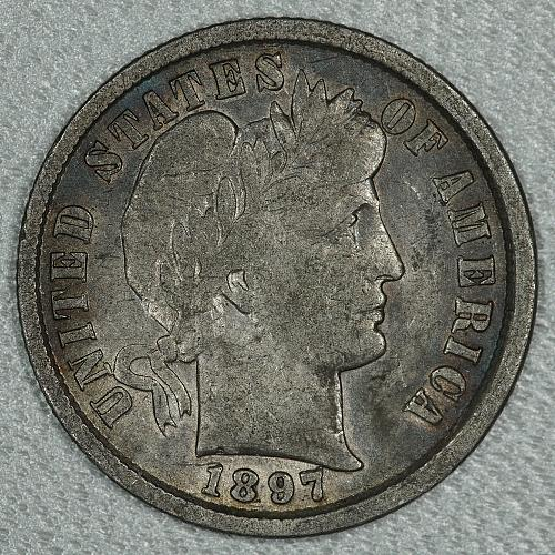 1897 VF-XF Barber Dime, earlier date with a lot of detail and a touch of luster