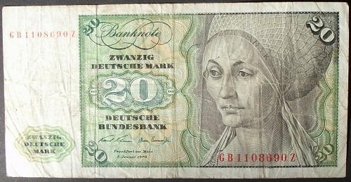 Germany/Federal Republic P32a 20 Deutsche Marks Fine