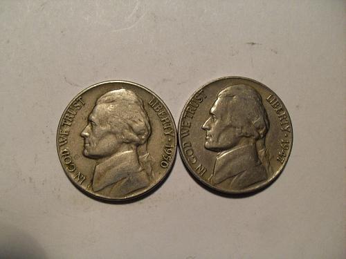 2 Jefferson nickels 1950P & 1947-P