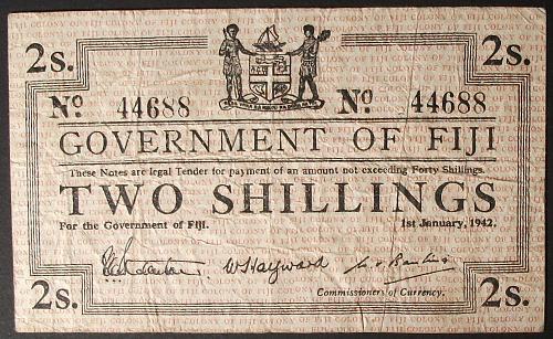 Fiji P50a 2 Shillings Fine