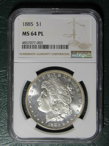 1885 MS64 Proof Like Morgan Dollar in NGC holder