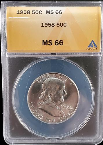 1958 MS66 Silver Franklin Half Dollar / Great Looking Franklin