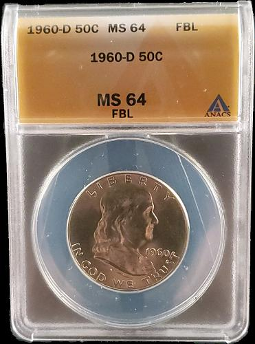 1960 D MS64 FBL Silver Franklin Half Dollar / Great Looking Franklin nice detail