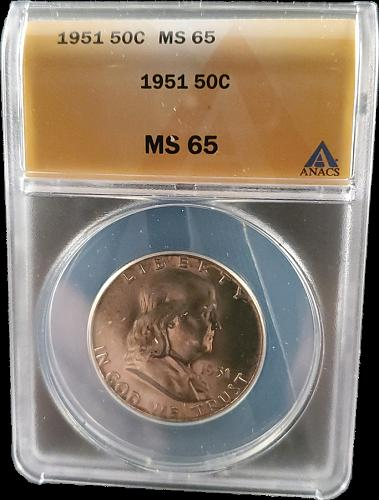 1951 MS65  Silver Franklin Half Dollar / Great Looking Franklin nice detail