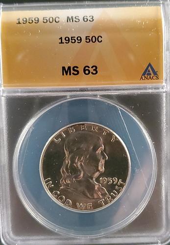 1959 MS63  Silver Franklin Half Dollar / Great Looking Franklin nice detail