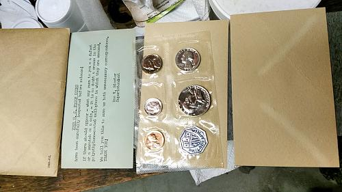 1958 Proof Set Coins Look Great small tear in envelope top left corner see photo