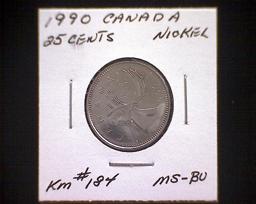 1990 CANADA TWENTY-FIVE CENTS QUEEN ELIZABETH 11