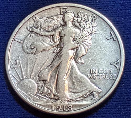 1918D F++/VERY FINE WALKING LIBERTY HALF DOLLAR