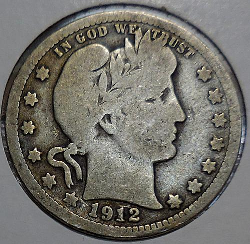 Barber Quarter 1912-P