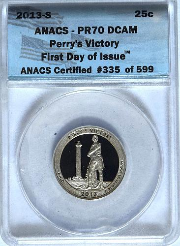 2013 S PERRY VICTORY ANACS PR70DCAM FIRST DAY OF ISSUE AMERICA THE BEAUTIFUL QU