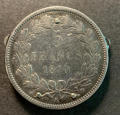 1870 SILVER 5 Francs Coin made into a Coin Knife. Rare Find, Take a Look !!