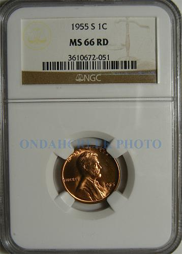 1955-S Lincoln Cent RPM and BIE Die Break Error NGC MS 66 RD