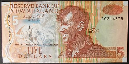 New Zealand P185a 5 Dollars VF++
