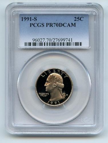 1991 S 25C Washington Quarter Proof PCGS PR70DCAM