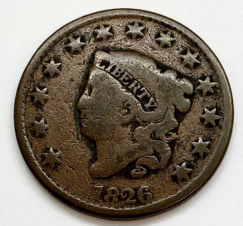1826 Coronet Liberty Head Large Cent - Cleaned