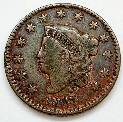 1827 Coronet Liberty Head Large Cent - Doubled Liberty - Cleaned