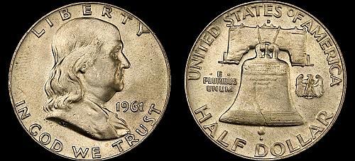 1961-D FRANKLIN SILVER HALF DOLLAR- GEM BRILLIANT UNCIRCULATED !!