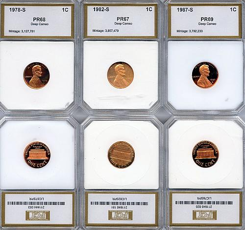 1978,82, and 87-S Proof DCAM Lincoln Penny's- Slabbed Coin's!!
