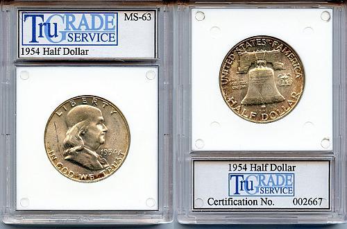 1954 CH BU Franklin SILVER Half Dollar- Slabbed Coin!!