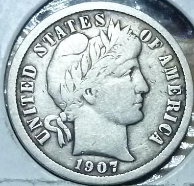 1907-P Grades Extra Fine Barber Dime (638A)