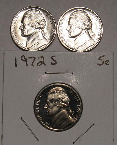 1972 P,D&S Jefferson Nickels in BU and Proof condition