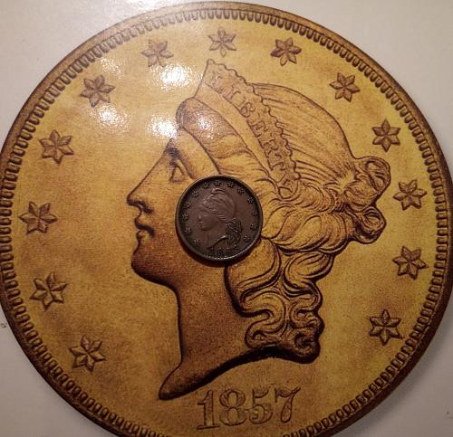 1863 Civil War Token: Capped Lady Army and Navy (Rotated Die)