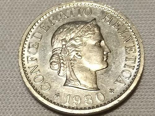 1980 SWISS 10 RAPPEN COIN