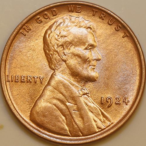 1924 P Lincoln Wheat Cent - Red Gem BU / MS RD / UNC